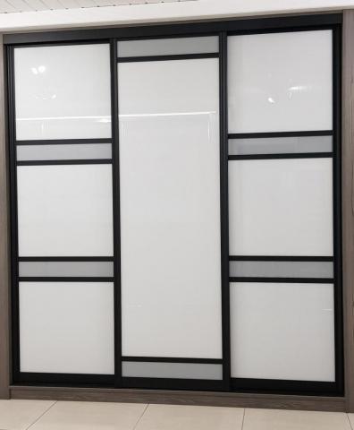 Venice Door - Black, with chalk grey and storm grey glass
